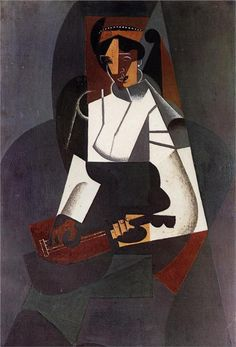 ♪ The Musical Arts ♪ music musician paintings - Woman with a Mandolin (after Corot) - Juan Gris
