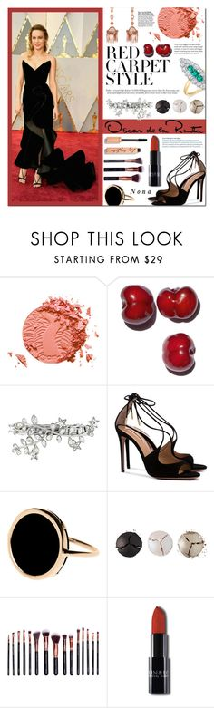 """""""Oscar Throwback: Brie Larson"""" by delunaray ❤ liked on Polyvore featuring Neil Lane, tarte, Dsquared2, Aquazzura, Ginette NY, Pat McGrath, M.O.T.D Cosmetics, Oscar de la Renta, redcarpetstyle and OscarsThrowback"""