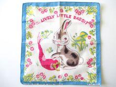 Vintage Child's Handkerchief Lively Little Rabbit by NeatoKeen