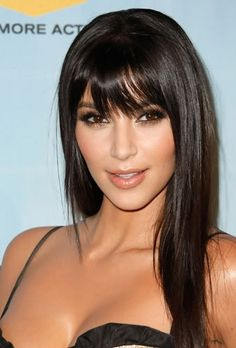 Black Long Straight Hairstyle with Chopped Bangs
