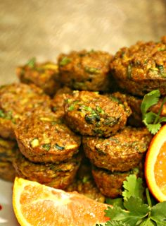 Cheesy Quinoa Veggie Bites: 2 cups cooked quinoa (3/4 cup uncooked)  4 eggs, zucchini, spinach, cilantro, green onion, shredded sharp cheddar cheese, salt & pepper,1 teaspoon sage, 1/2 thyme, nutmeg, all spice, 1/4 fennel seed, 1 Tablespoon paprika.   Bake 15 mins 350 degrees