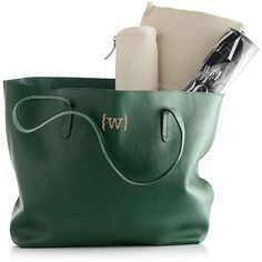 Everyday Leather Tote (7,190 THB) ❤ liked on Polyvore featuring bags, handbags, tote bags, purses, green leather tote, green handbags, green leather handbag, over the shoulder purse and genuine leather handbags