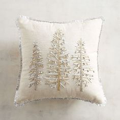 Embroidered on white with touches of braiding, our mini pillow's silvery metallic trees are home to seasonal pinecones, sparks of gold and crimped border detailing. Christmas Bedroom, Christmas Home, Christmas Crafts, Christmas Ornaments, Christmas Candle, Christmas Holidays, Christmas Ideas, Christmas Cushions, Christmas Pillow