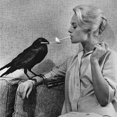 """Behind the scenes photo of Tippy Hedron, star of Hitchcock's classic """"The Birds"""" ~ Photography by Philippe Halsman"""