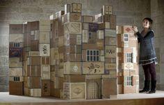 The tea chest castle in the Room of Good Fortune at Castle Drogo, Devon Big Cardboard Boxes, Cardboard City, Castle Drogo, Advert Design, Puppet Show, Dark Horse, 3d Design, Design Ideas, Natural History