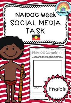 This task is designed to encourage students to think about the power of social media and how it can be used in a positive way to communicate with others. Freebie for NAIDOC Week ~ Rainbow Sky Creations ~ School Resources, Teaching Resources, Teaching Ideas, Primary Classroom, Primary School, Naidoc Week Activities, Power Of Social Media, Rainbow Sky, Anzac Day