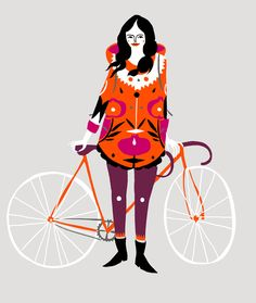 Karolin Schnoor is a German illustrator and designer based in London. Great style a bit Scandinavian sometimes I think, and with bold graphic compositions and Illustration Design Graphique, Bicycle Illustration, Illustration Art, People Illustration, Bicycle Art, Cycling Art, Arte Popular, Illustrations, Etsy