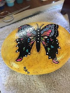 Purple-Swallowtail-Butterfly-Hand-Painted-Rock