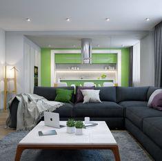Idea arredamento salotto con mobili di legno, pareti colorate ...