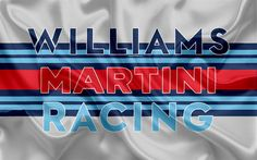 Download wallpapers Williams Martini Racing, Williams F1, 4k, racing team, Formula 1, Williams logo, F1, red silk flag, motor sport, British team
