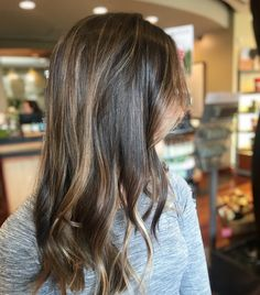Balayage, toner, shadow root and cut by Gabie Vossler Bayalage Black Hair, Baylage, Balayage Brunette, Balayage Hair, Love Hair, Gorgeous Hair, Ombre Color, Hair Color, Medium Straight Haircut
