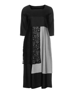 Isolde Roth Linen lace dress in Black / Grey