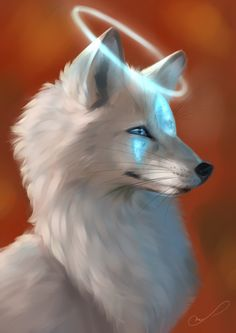 Guardian by Martith Cute Animal Drawings Kawaii, Cute Cartoon Animals, Anime Animals, Cute Drawings, Cute Animals, Cute Fantasy Creatures, Mythical Creatures Art, Beautiful Wolves, Animals Beautiful