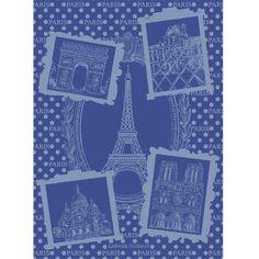 Tea Towel:  Torchon collection automne hiver 2015 par Garnier-Thiebaut - Modèle : Paris monuments - Torchon en coton - Coloris : bleu