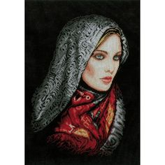 """LanArte Women In Veil On Aida Counted Cross Stitch Kit-13.5""""""""X19.5"""""""" 14 Count"""