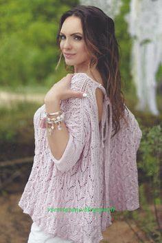 ВСЕ СВЯЗАНО. ROSOMAHA.: Пуловер-наволочка ажурным узором с вырезом на спинке.