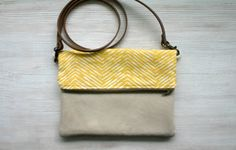Foldover yellow chevron bag every day purse by HelloVioleta