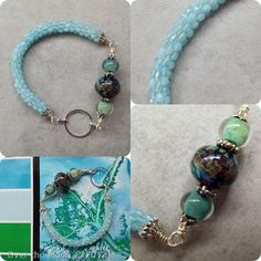 3rd Annual challenge of Colour - Over the Moon Design - Kumihimo aquamarine bracelet for the Mississippi River Delta palette