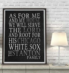 """Chicago White Sox baseball Personalized Art Print- """"As for Me"""" Parody-Unframed Print"""