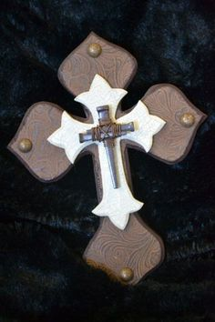 """Decorative Wood Cross, Tooled Material, Nail Cross, Traditional, Western, Southwestern, Painted, Small Stacked Wood Cross 8.25"""" x 6.25"""". $13.95, via Etsy."""