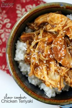 Slow Cooker Chicken Teriyaki on a bed of white rice - easy and delicious using simple ingredients!
