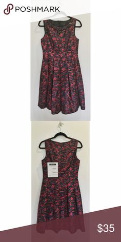 Contemporary A-Line Bright Floral Dress a-line dress with pleated skirt | fitted bodice and full skirt create a slimming silhouette | beaded neckline so no necklace is needed | great dress for a semi-formal wedding | never worn before Chetta B Dresses Mini