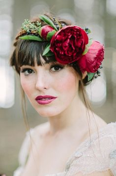Romantic Red Floral Crown.  Pinned by Afloral.com from http://botanicalbrouhaha.com/ ~Afloral.com has high-quality faux flowers and supplies for your DIY wedding ideas.