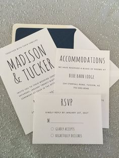 These modern and stylish wedding invitations will surely wow your guests. This simple and elegant design is perfect to invite your guests for your special day. Navy font printed onto 80lb white linen cardstock gives it a beautifully textured finish. THIS LISTING INCLUDES - 5 x 7 ceremony card - A7 white linen envelope - Navy shimmer envelope liner - 4.25 x 6 accommodations card - 3.5 x 5 RSVP card - 4 bar white linen envelope  HOW TO ORDER - Purchase the quantity of invitations that you need…