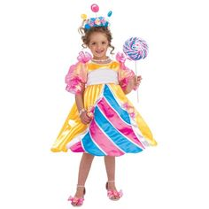 What better way to dress up for trick or treating than as the queen of confection herself? Our Girl's Candy Princess costume is a colorful, playful way to celebrate Halloween or represent the Lollipop