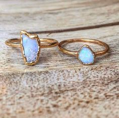 Dainty Raw Opal and Gold Rings    Available in our 'Mermaid' Collection    www.indieandharper.com