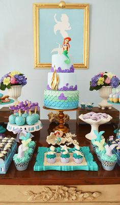 The Little Mermaid Birthday Party Ideas Little Mermaid Parties, The Little Mermaid, 3rd Birthday Parties, Girl Birthday, Birthday Ideas, Mermaid Birthday Party Ideas, Cake Birthday, 1st Birthday Party Ideas For Girls, Little Mermaid Birthday Cake