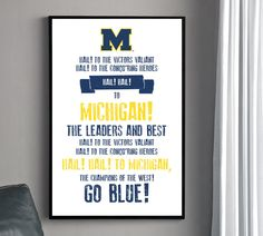 Michigan Fight Song Poster  University of Michigan by HENANDCO, $22.00