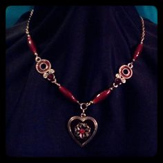 Red & Silver Heart Necklace by AdamantArtistry