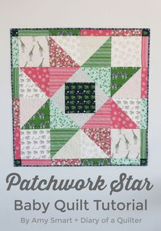 """Fun and fast, scrappy DIY baby quilt. Perfect for 10"""" precuts. Showing off fabric from the Safari Party collection for Riley Blake."""