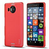 Lumia 950 XL Case, J&D [Drop Protection] Microsoft Lumia 950 XL Case [Slim Cushion] Shock Resistant Protective Premium Jelly Case Slim Case for Lumia 950 XL (Red)