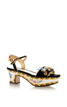 Velvet Embellished Painted Platforms by DOLCE & GABBANA Now Available on Moda Operandi