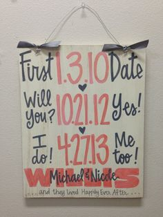 Custom Hand-Painted Wedding Anniversary Announcement with Dates on 12x15 wood sign gift Valentines Day