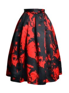 Contrast Color Flower High Waist Bubble Skirt