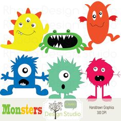 Digital Clip Art Monsters Halloween Party graphics design. $5.00, via Etsy.