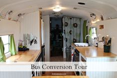 Bus conversion tour...would be good for camping/cabin by the river.  Could just drive out if the water comes up.  For a couple you could have a lot more storage, or a sofa area, by not having the bunks.