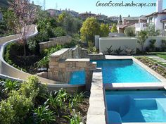 Calabasas Pool with water slide and outdoor kitchen los angeles - Scott Cohen