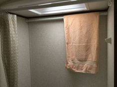 We received a great tip from a reader named Anne who emailed us two tips that help tidy up the interior of an RV. What Anne did was to purchase one of - The RV lifestyle Rv Bathroom, Bathroom Shower Curtains, Bathroom Furniture, Bathroom Storage, Kitchen Storage, Master Bathroom, Bathroom Ideas, Rv Curtains, Light Trailer