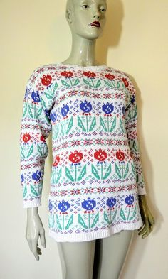 Your place to buy and sell all things handmade Ashley White, Laura Ashley, Floral Sweater, Cotton Sweater, Vintage Jumper, S 10, Etsy Vintage, Christmas Sweaters, Archive