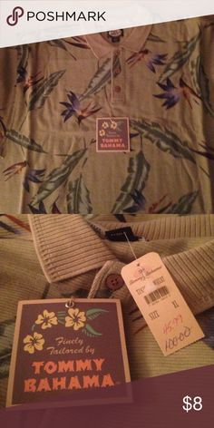 Mens XL Tommy Bahama Polo Shirt Mens XL Tommy Bahama Polo Shirt. Short Sleeve, 3 Button Collar, 100% Cotton. New with tag attached original $100, paid $45.99 Tommy Bahama Tops Tees - Short Sleeve