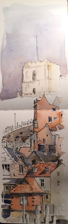 https://flic.kr/p/EaBgJD | Ink & wash sketch of Whitby in my Moleskine watercolour sketchbook - John Harrison