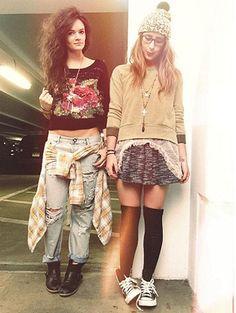 Right: Holly Go Lightly Skirt, Ditsy Dot Mesh Cami, Tommy Studded Chucks