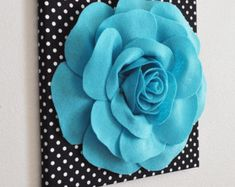 Items similar to Flower Wall Decor- Light Turquoise Rose on Black and White Polka Dot 12 Canvas Wall Art- Felt Flower on Etsy Felt Flowers, Fabric Flowers, Paper Flowers, Painting Flowers, Paper Dahlia, Diy Wall Art, Canvas Wall Art, Felt Crafts, Diy And Crafts