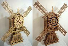 The windmill clock, scroll saw fretwork pattern