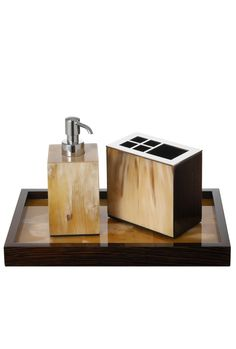 Signature Collection Luxury Pale Polished Horn Bathroom Set Inc Vanity Tray Soap Pump Toothbrush Holder Partner Lighting Furniture Accessories