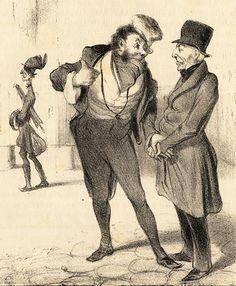 Antique Print Robert Macaire 13 Business Broker Satire Daumier 1840